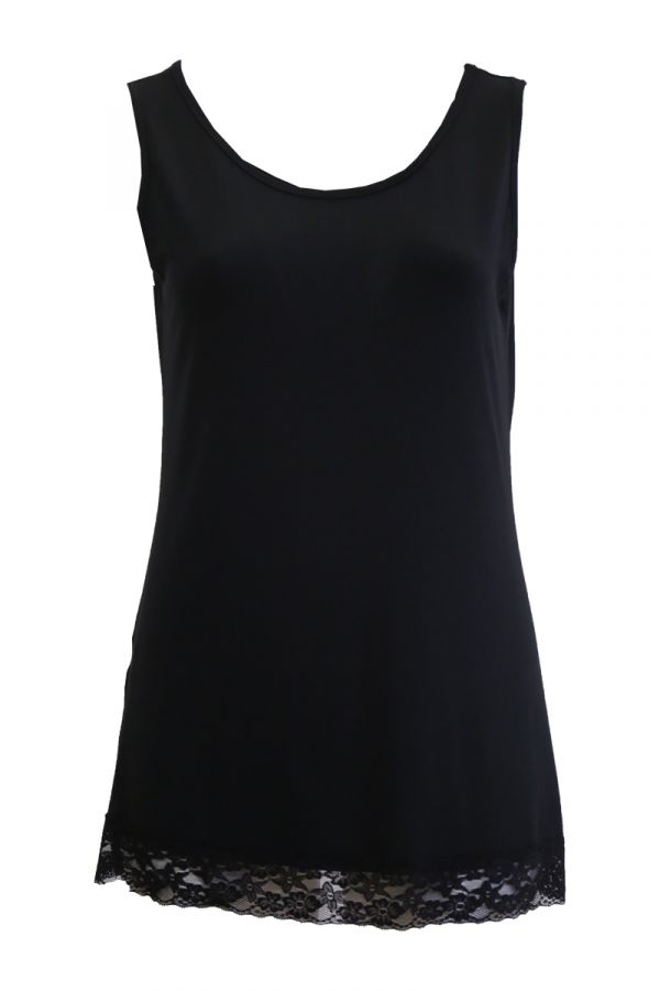Light-weight tank top with lace detail in black colour
