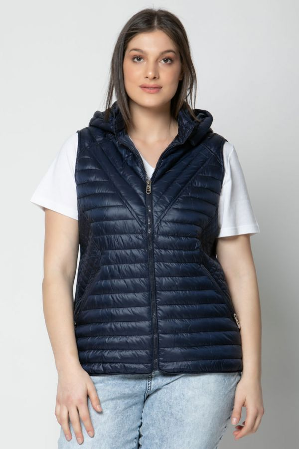 Sleeveless puffer with hood in dark blue colour