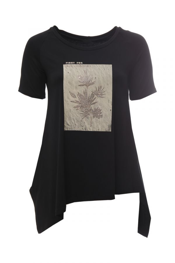 Asymmetric short sleeve top with leaves print in black colour