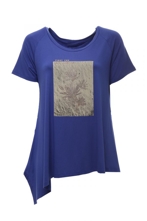 Asymmetric short sleeve top with leaves print in royal blue colour