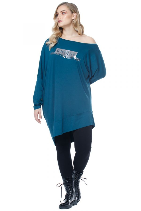 Long asymmetric blouse with print in petrol colour