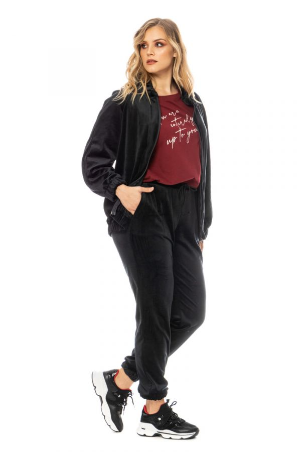 Velour tracksuit top in black colour
