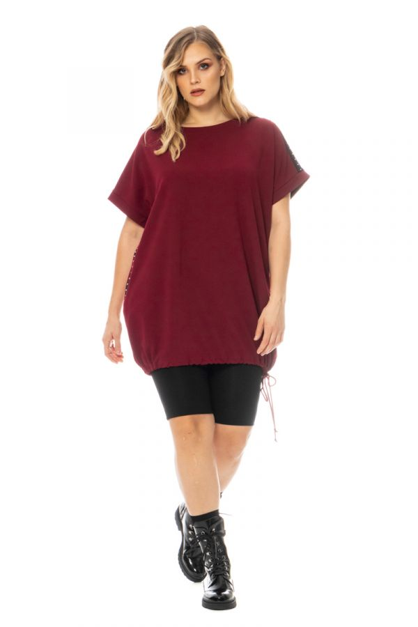 T-shirt dress with drawstring hem in bordeaux colour