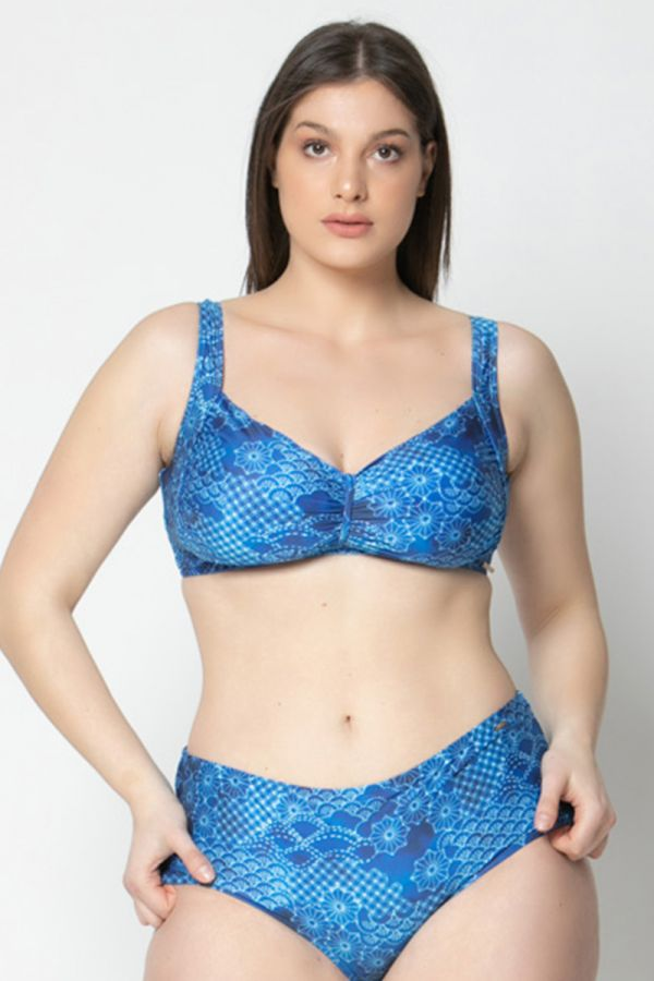 Bikini top with all-over print in blue colour