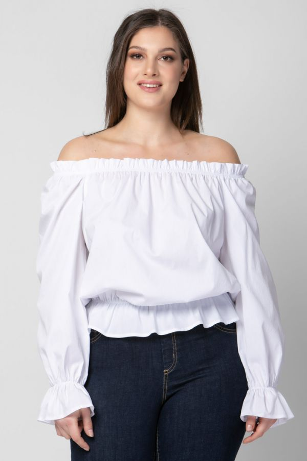 Poplin crop top with ruffles in white colour