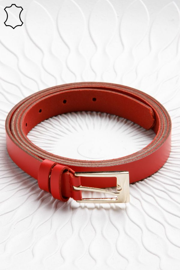 2cm leather belt with rectangular buckle in red colour