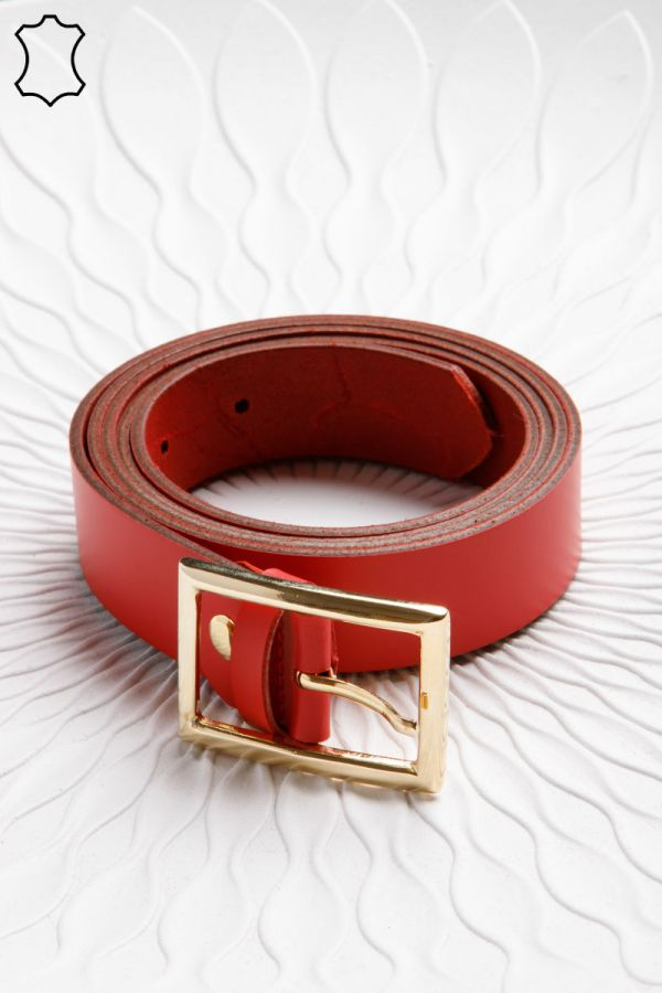 3cm leather belt with rectangular buckle in red colour