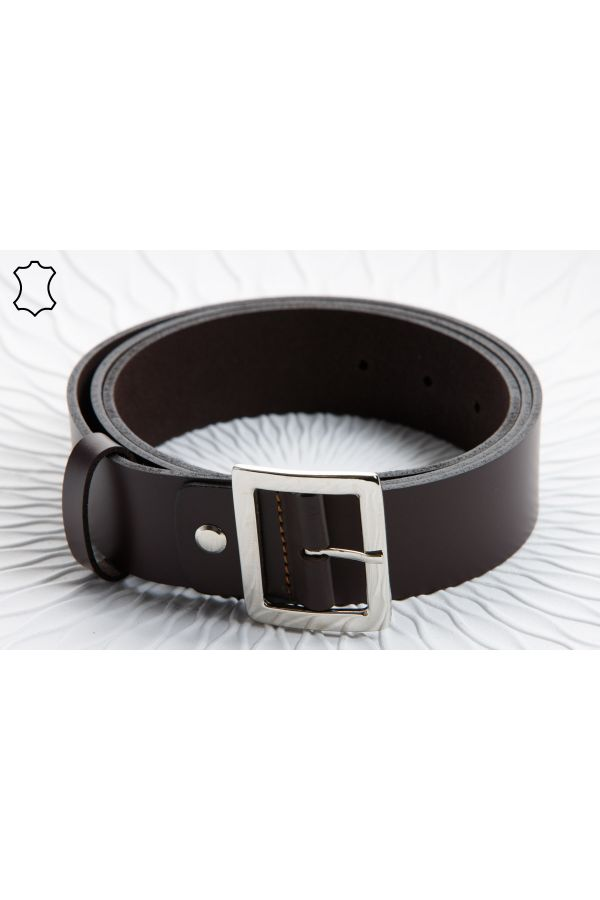 4cm leather belt with square buckle in brown colour