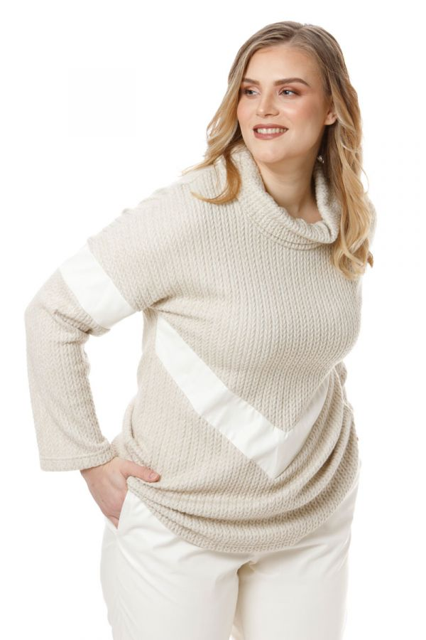 Turtleneck jumper with leather-like details in ecru colour