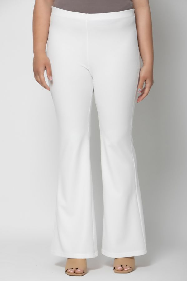 Heavy-weight scuba high-waisted flare trousers in ecru colour
