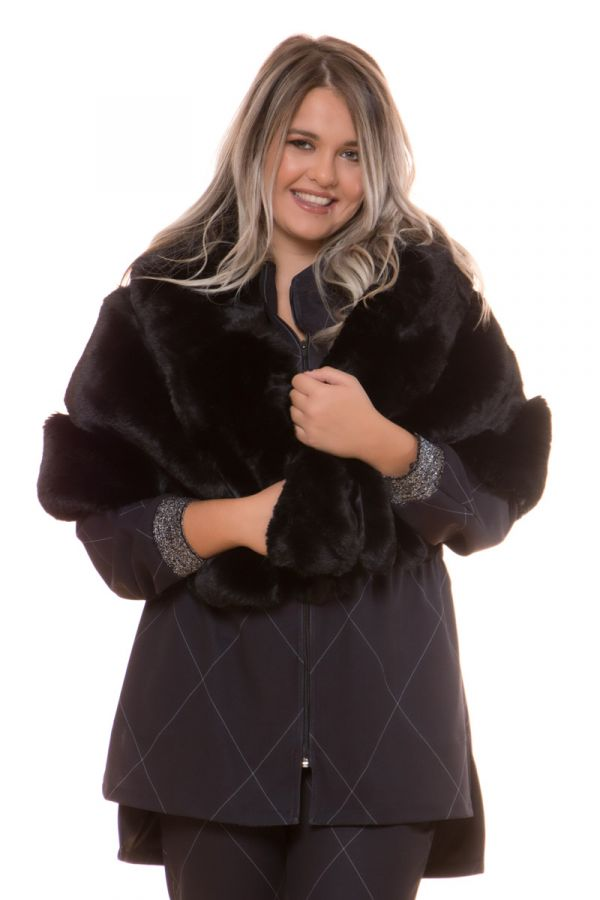 Faux fur oversized scarf in black colour