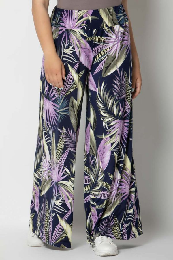 Wide leg trousers with leaves print in lilac colour