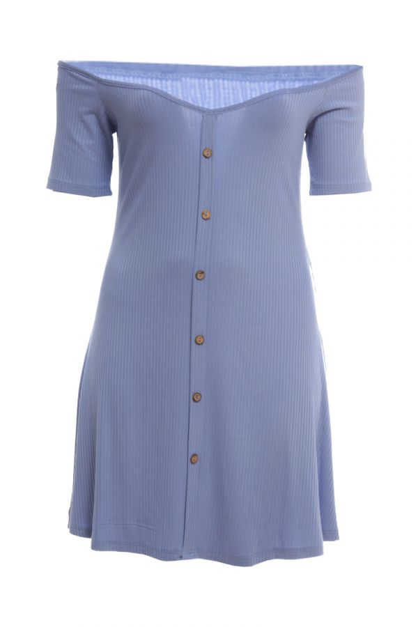 Mini ribbed dress with decorative buttons in indigo colour