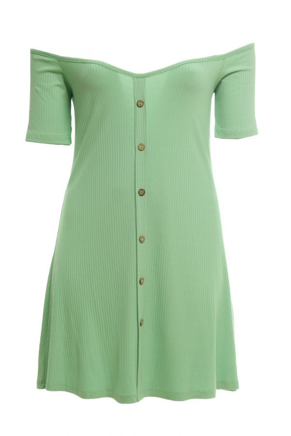 Mini ribbed dress with decorative buttons in veraman colour