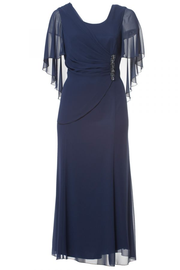 Maxi dress with muslin and embellished details in dark blue colour