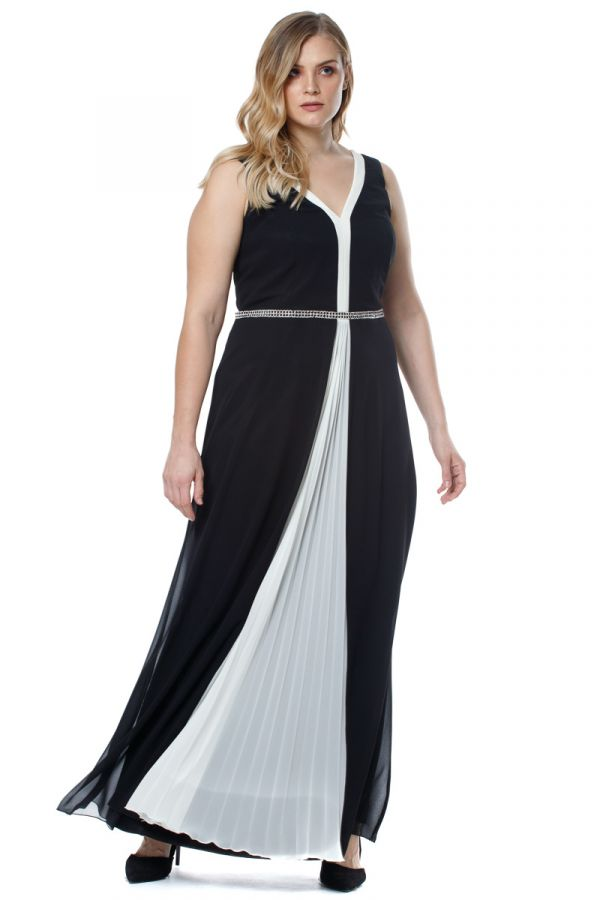 Embellished waist maxi dress with front pleating in black and white colour