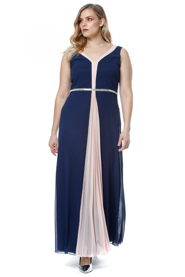 Embellished waist maxi dress with front pleating in dark blue/powder pink colour