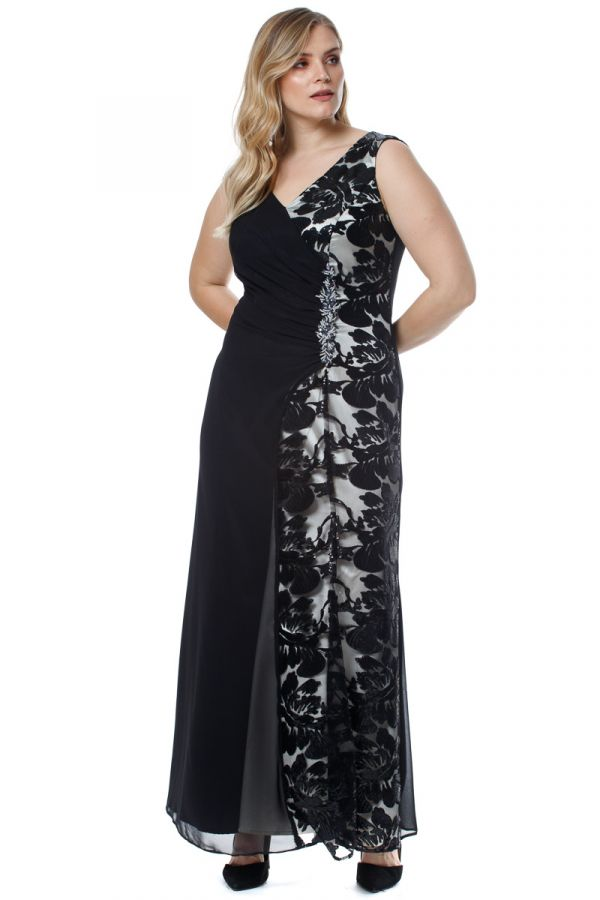 Maxi wrap dress with gathers and lace in black/ecru colour