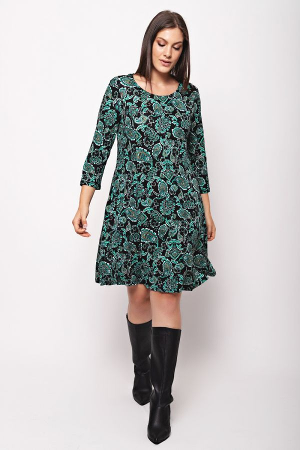 Dress with concealed side pockets in black/green colour