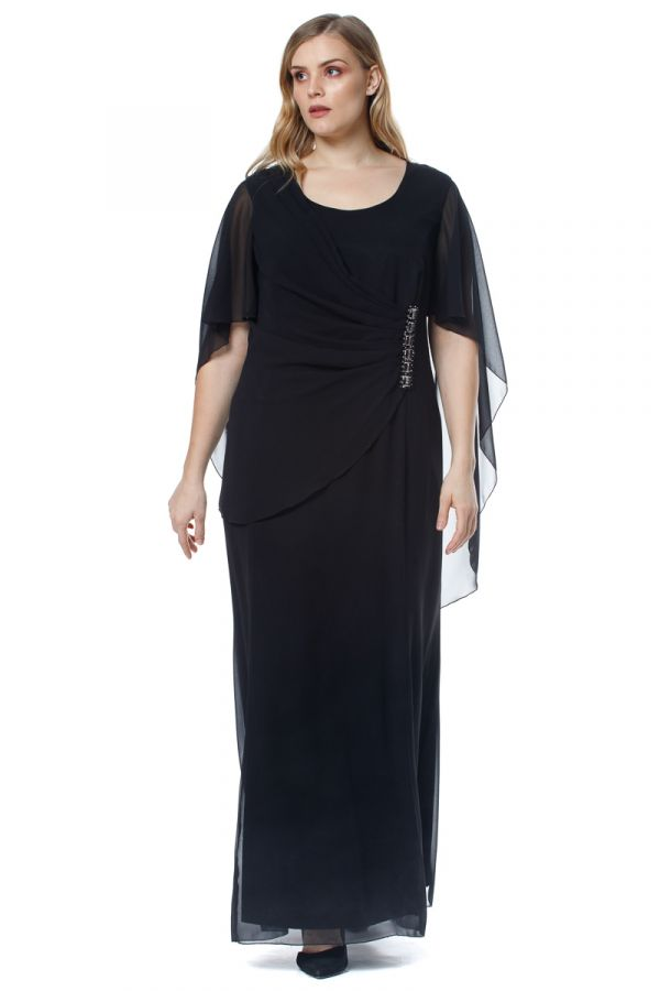 Maxi dress with muslin and embellished details in black colour