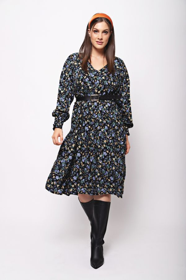 Liberty print frill dress with shirred sleeves