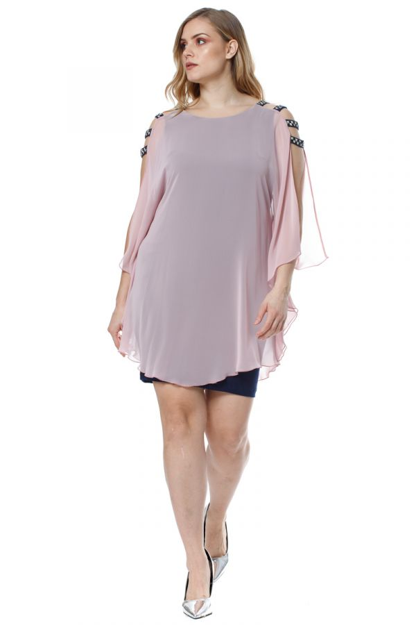 Layered mini dress with rhinestones in blue/powder pink colour
