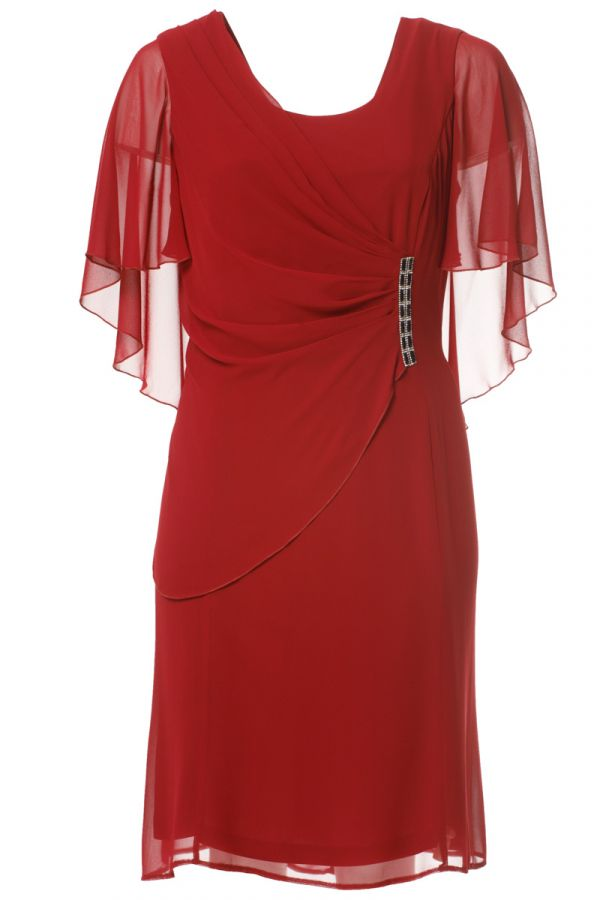 Midi wrap dress with muslin and embellished details in bordeaux colour
