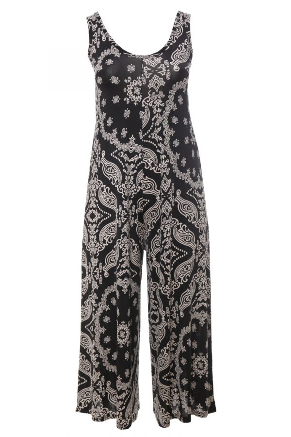 Sleeveless jumpsuit with print in white/black colour