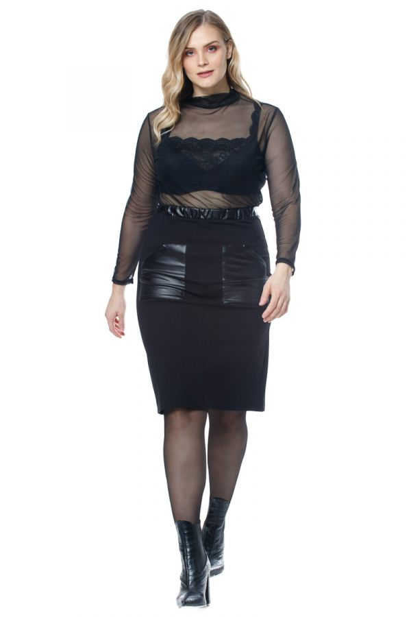 Mini skirt with leather-like details in black colour