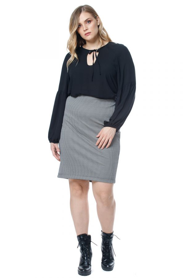 Check midi skirt in black/white colour