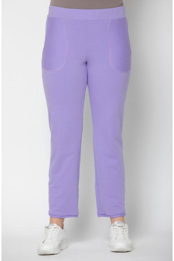 Frayed sweatpants in lilac colour