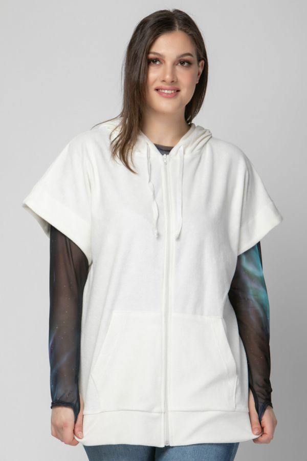 Terry towelling short sleeve track top in ecru colour