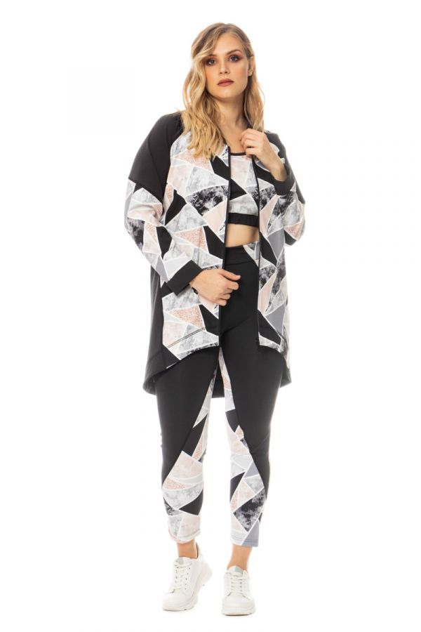 Hi-lo sports jacket with marble print in black colour