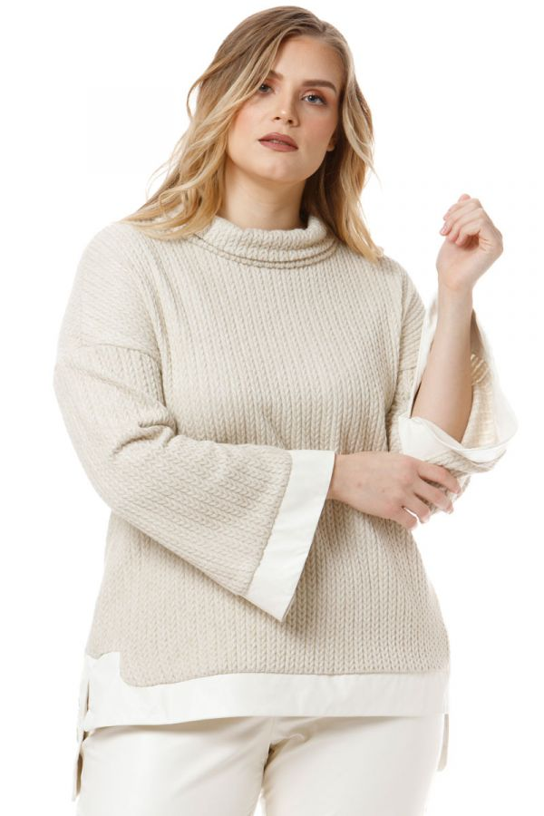 Hi-lo turtleneck jumper with leather-like details in ecru colour