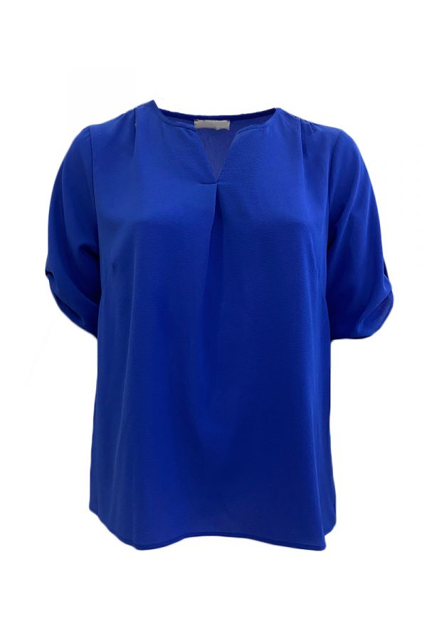 Blouse with front box pleat in royal blue colour