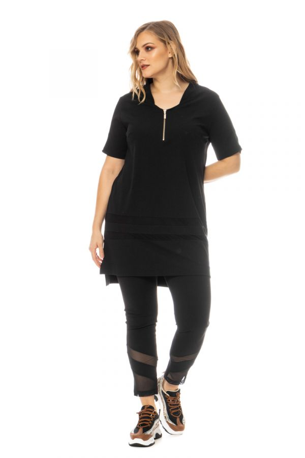 Hi-lo t-shirt dress with mesh details in black colour