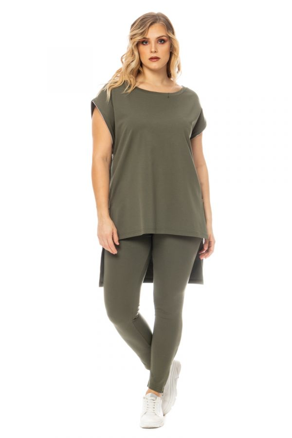 Hi-lo blouse with zippers in khaki colour
