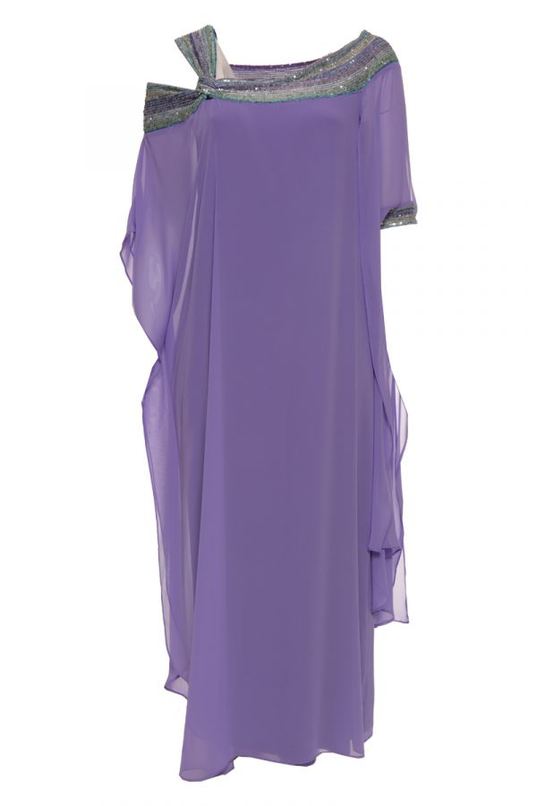 Maxi dress with sequin embellished neckline in purple colour