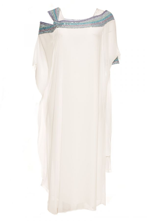 Maxi dress with sequin embellished neckline in white colour