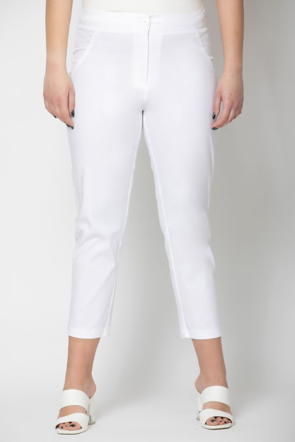 High-waisted cropped trousers in white colour