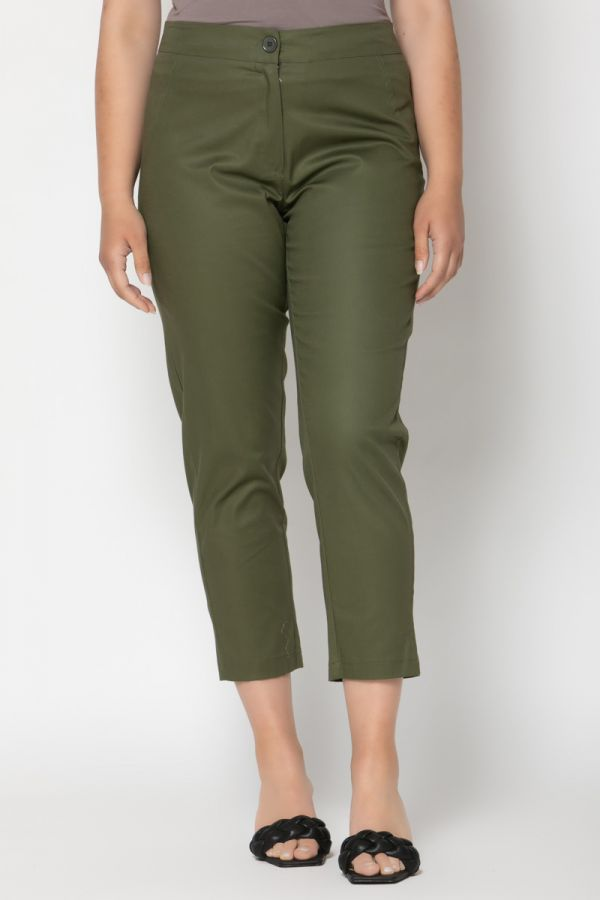 High-waisted cropped trousers in khaki colour