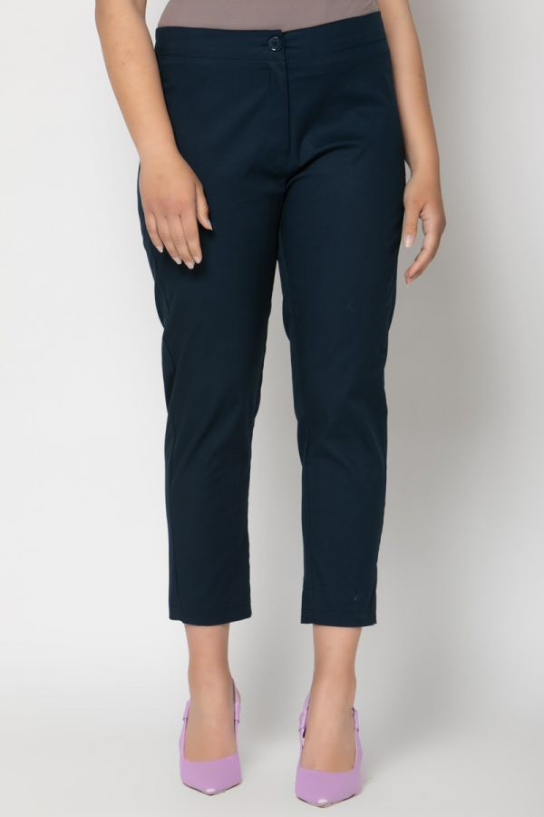 High-waisted cropped trousers in blue colour