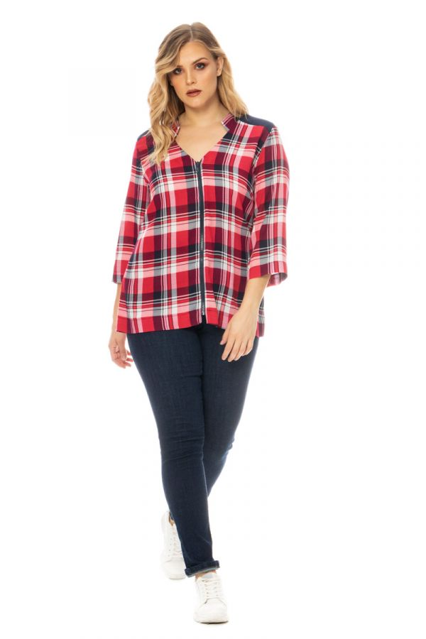Zip through check shirt in red colour