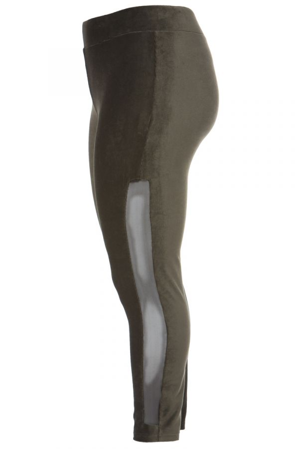 Velour leggings with mesh details in olive colour