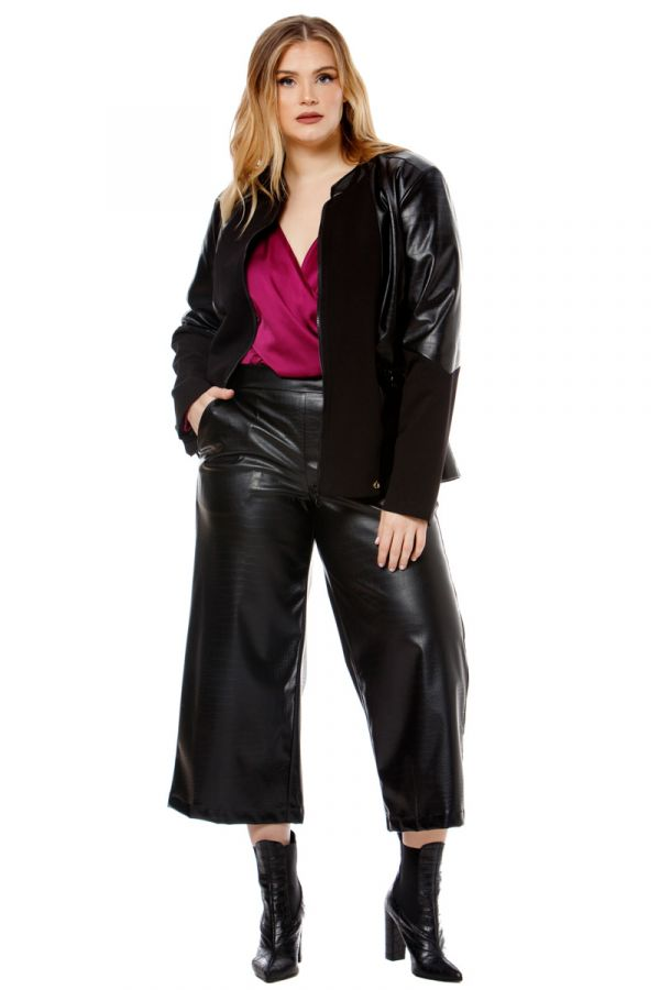 Jacket with leather-like croc details in black colour