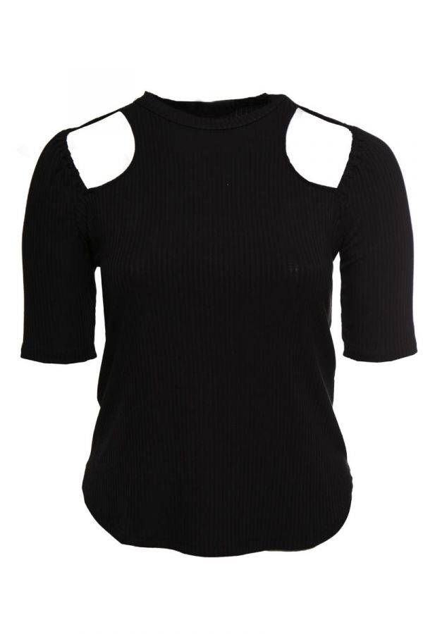 Ribbed top with shoulder cut out detail in black colour