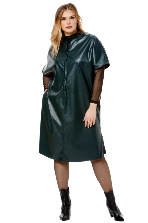 Leather-like croc dress in green colour