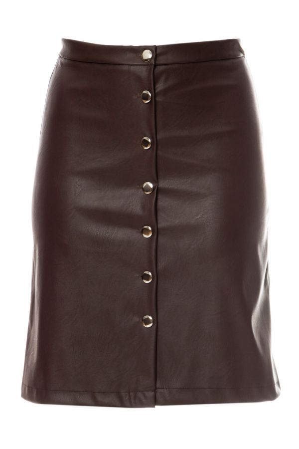 Leather-like midi skirt in brown colour
