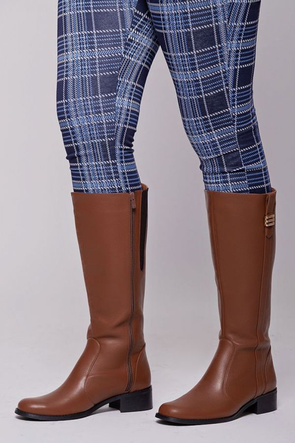 Leather-like wide calf knee-high boots with gold detail in chocolate colour