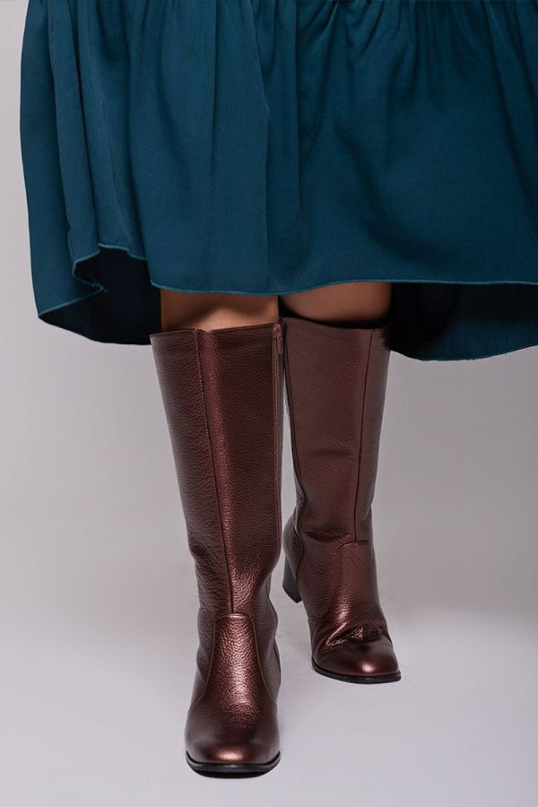 Leather-like wide calf boots in bronze colour
